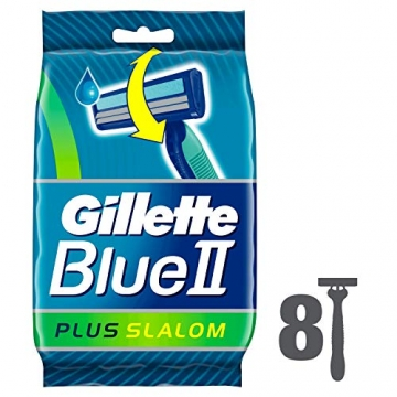 Gillette Blue II Plus Slalom Rasoi da Uomo Usa e Getta, Confezione da 8 Pezzi - 1