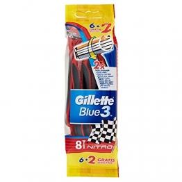 Gillette Blue3 Nitro Usa e Getta Rasoio da Uomo, 8 Pezzi - 1