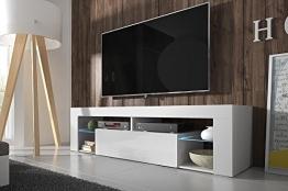 Hestia – Mobile Porta TV / Mobiletto Porta TV Moderno (140 cm, Bianco Opaco / Pannello Frontale Bianco Lucido con Luci LED) - 1