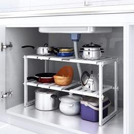 HOMFA Scaffale Sotto Lavello Stoviglie Lavandino Cucina, Mensola Regolabile Modulabile Salvaspazio, Regolabile 2 Ripiani per Cucina Bagno Sotto Lavello, 36(-66) × 26 × 38cm - 1