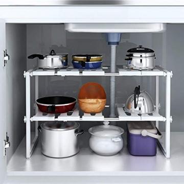 HOMFA Scaffale Sotto Lavello Stoviglie Lavandino Cucina, Mensola Regolabile Modulabile Salvaspazio, Regolabile 2 Ripiani per Cucina Bagno Sotto Lavello, 36(-66) × 26 × 38cm - 7