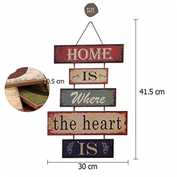 HUABEI Cartello Vintage in legno da appendere alle parete - Home is where the heart is - 3