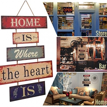 HUABEI Cartello Vintage in legno da appendere alle parete - Home is where the heart is - 4