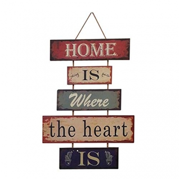 HUABEI Cartello Vintage in legno da appendere alle parete - Home is where the heart is - 1