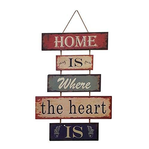HUABEI Cartello Vintage in legno da appendere alle parete - Home is where the heart is - 1