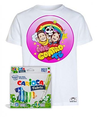 Idea Regalo per Bambini - Maglietta t-Shirt da colorare con Colori Inchiostro per Tessuti - Me Contro Te - Kira e Rai - Luì e Sofì Originale educativa (7-8 Anni, Maglia con Pandacorno + Colori) - 2