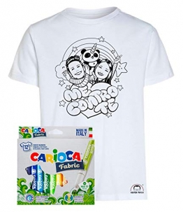 Idea Regalo per Bambini - Maglietta t-Shirt da colorare con Colori Inchiostro per Tessuti - Me Contro Te - Kira e Rai - Luì e Sofì Originale educativa (7-8 Anni, Maglia con Pandacorno + Colori) - 1