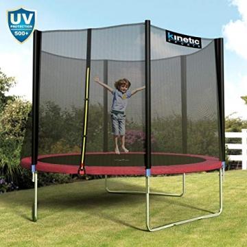 Kinetic Sports Outdoor - Trampolino elastico da giardino, con copertura del bordo e rete di sicurezza, certificato TÜV Rheinland GS - 6