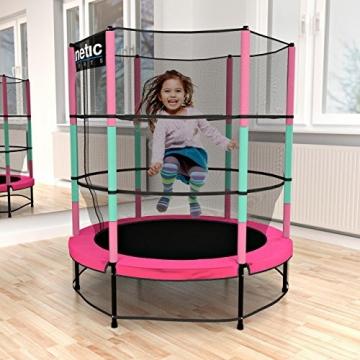 Kinetic Sports Trampolino Bambini Indoor Tappeto Elastico 140 cm, Bordo di Protezione, Sistema a Corda Elastica, Rete di Sicurezza, Rosa - 2
