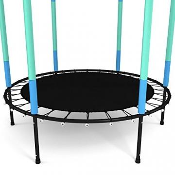 Kinetic Sports Trampolino Bambini Indoor Tappeto Elastico 140 cm, Bordo di Protezione, Sistema a Corda Elastica, Rete di Sicurezza, Blu - 4