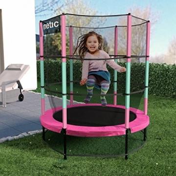 Kinetic Sports Trampolino Bambini Indoor Tappeto Elastico 140 cm, Bordo di Protezione, Sistema a Corda Elastica, Rete di Sicurezza, Rosa - 3