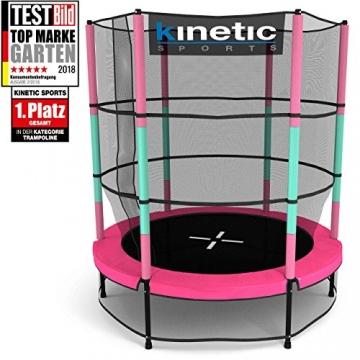 Kinetic Sports Trampolino Bambini Indoor Tappeto Elastico 140 cm, Bordo di Protezione, Sistema a Corda Elastica, Rete di Sicurezza, Rosa - 1