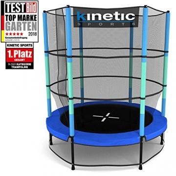 Kinetic Sports Trampolino Bambini Indoor Tappeto Elastico 140 cm, Bordo di Protezione, Sistema a Corda Elastica, Rete di Sicurezza, Blu - 1