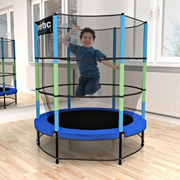 Kinetic Sports Trampolino Bambini Indoor Tappeto Elastico 140 cm, Bordo di Protezione, Sistema a Corda Elastica, Rete di Sicurezza, Blu - 2