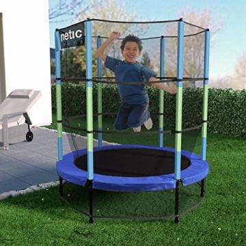 Kinetic Sports Trampolino Bambini Indoor Tappeto Elastico 140 cm, Bordo di Protezione, Sistema a Corda Elastica, Rete di Sicurezza, Blu - 3