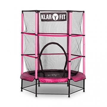 Klarfit Rocketkid trampolino da giardino trampolino per bambini adatto per bambini dai 3 anni diametro 140 centimetri massimo Ccarico: 50 kg rivestimento di bordo imbottito rosa - 2