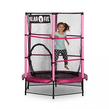 Klarfit Rocketkid trampolino da giardino trampolino per bambini adatto per bambini dai 3 anni diametro 140 centimetri massimo Ccarico: 50 kg rivestimento di bordo imbottito rosa - 3