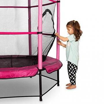Klarfit Rocketkid trampolino da giardino trampolino per bambini adatto per bambini dai 3 anni diametro 140 centimetri massimo Ccarico: 50 kg rivestimento di bordo imbottito rosa - 4