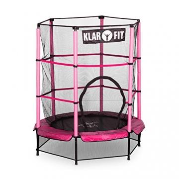 Klarfit Rocketkid trampolino da giardino trampolino per bambini adatto per bambini dai 3 anni diametro 140 centimetri massimo Ccarico: 50 kg rivestimento di bordo imbottito rosa - 1