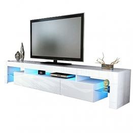 Kofkever Vivaldi 1204 Porta Tv Bianco/Bianco Lucido Brillante mobile soggiorno moderno. - 1