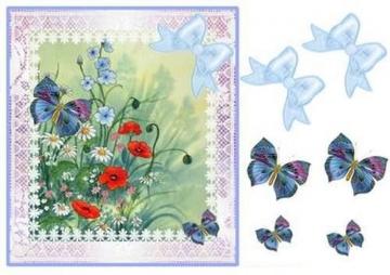 Margherite, papaveri e farfalle decoupage step by step by Pamela West - 1