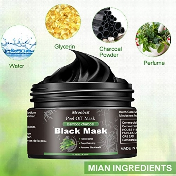 Maschera Nera, Black Mask, Maschera di comedone, Blackhead Remover Black Mask, Facciale Cura Strappando Stile Pulizia Profonda Pulizia Rimozione Di Comedone Maschera (120ML) - 3