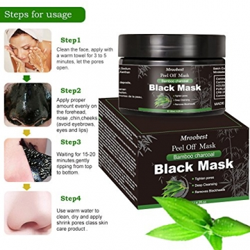 Maschera Nera, Black Mask, Maschera di comedone, Blackhead Remover Black Mask, Facciale Cura Strappando Stile Pulizia Profonda Pulizia Rimozione Di Comedone Maschera (120ML) - 4