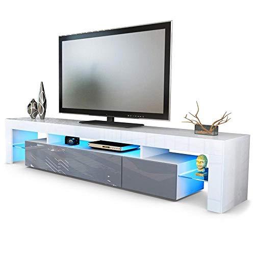 Mobile tv moderno Vivaldi da 189 cm. scelta 18 colori. (bianco-grigio lucido) - 1