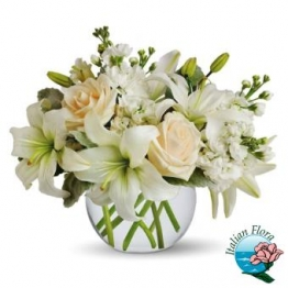 Omaggio floreale per matrimonio con Fiori bianchi e avorio con Rose e Lilium - Consegna in Italia.