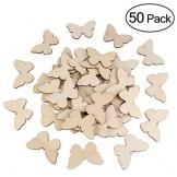 OULII 50pcs farfalla in legno forme artigianali in bianco, naturale incompiuto estirpare forma farfalla in legno, Natale, matrimonio, Guestbook, decorazione dell'albero di famiglia di Decoupage - 1