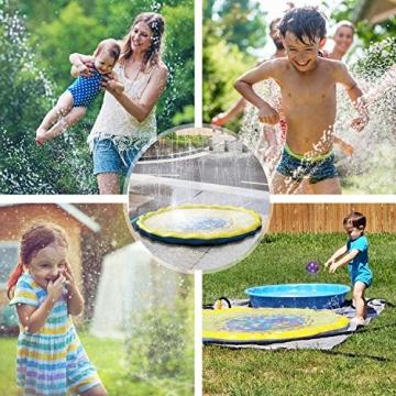 PELLOR Bambini Gioco Acqua, Spruzzi e Splash Tappeto Gioco d'Acqua da Giardino, Gioco da Giardino & Piscina all'aperto per Neonati e Bambini Piccoli - 6