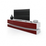 Porta TV moderno modello New York, mobile per tv per il tuo soggiorno frontali bordeaux lucido - 1