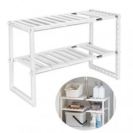 Qisiewell Scaffale Sotto Lavello Stoviglie Lavandino Cucina per Cucina Bagno Sotto Regolabile Modulabile Salvaspazio Deposito - 14 kg caricabili (Colore bianco) - 1