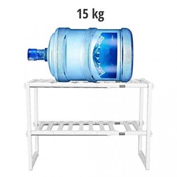 Qisiewell Scaffale Sotto Lavello Stoviglie Lavandino Cucina per Cucina Bagno Sotto Regolabile Modulabile Salvaspazio Deposito - 14 kg caricabili (Colore bianco) - 4