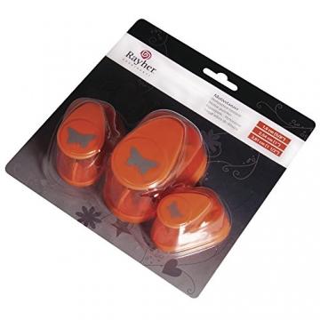 Rayher 69104000 set perforatrici decorativi fustella metallo farfalle 3 misure diverse 1.95X 1.9x 0.6cm grande medio piccolo confezione da 3 pezzi scapbooking etichette biglietti colore arancione - 3