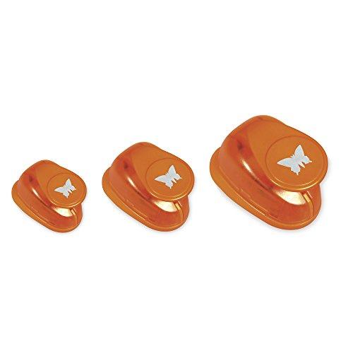 Rayher 69104000 set perforatrici decorativi fustella metallo farfalle 3 misure diverse 1.95X 1.9x 0.6cm grande medio piccolo confezione da 3 pezzi scapbooking etichette biglietti colore arancione - 1