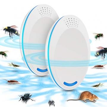 Repellente Ultrasuoni, Non Tossico & Sicuro per l'ambiente per Umani e Animali Domestici Perfetti, Repeller Parassiti ad Ultrasuoni Repellente per Repeller Control, Mouse, Insetti(2 Pezzi, Bianco) - 1