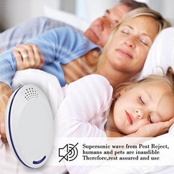 Repellente Ultrasuoni, Non Tossico & Sicuro per l'ambiente per Umani e Animali Domestici Perfetti, Repeller Parassiti ad Ultrasuoni Repellente per Repeller Control, Mouse, Insetti(2 Pezzi, Bianco) - 6