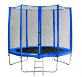 SixBros. SixJump 2,45 M Trampolino Elastico da Giardino Blu - Scaletta - Rete di Sicurezza - Copertura Anti-Pioggia - TB245/1609 - 1