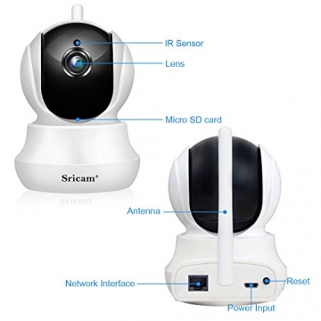 Sricam SP020 Telecamera di Sorveglianza Wireless 720P HD IP Camera Wifi Visione Notturna a Infrarossi, Audio Bidirezionale, Controllo Remoto e Email allarm, Compatibile con iOS /Android/Windows PC - 5