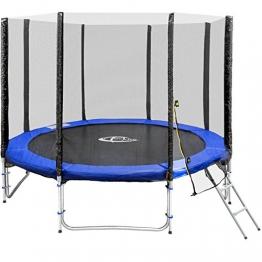 TecTake Trampolino elastico da giardino con rete di sicurezza e scaletta | Con TÜV/GS certificato - disponibili in diverse misure - (Ø 305 cm | No. 402791) - 1