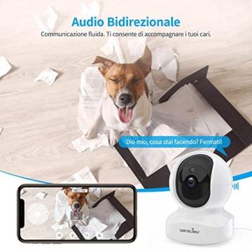 Telecamera di Sorveglianza WiFi, Wansview FHD 1080P Videocamera IP WiFi Interno con Audio Bidirezionale e Compatibile con Alexa, Notifiche in Tempo Reale-Q5 Bianco - 4