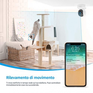Telecamera di Sorveglianza WiFi, Wansview FHD 1080P Videocamera IP WiFi Interno con Audio Bidirezionale e Compatibile con Alexa, Notifiche in Tempo Reale-Q5 Bianco - 6