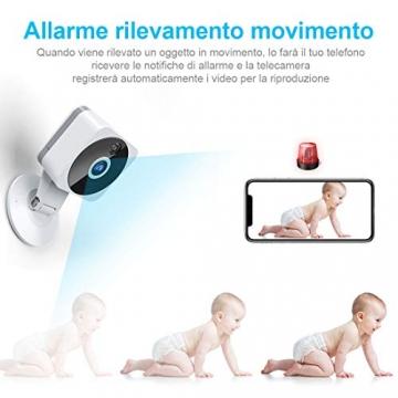 Telecamera Wi-fi Interno 1080P, NIYPS Full HD senza fili Videocamera Sorveglianza con Visione Notturna, Audio Bidirezionale e Sensore di Movimento Telecamera IP Cloud per Baby Monitor... - 6