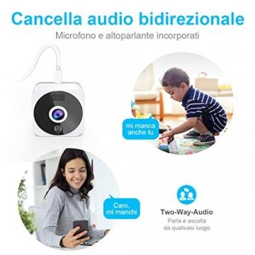 Telecamera Wi-fi Interno 1080P, NIYPS Full HD senza fili Videocamera Sorveglianza con Visione Notturna, Audio Bidirezionale e Sensore di Movimento Telecamera IP Cloud per Baby Monitor... - 7