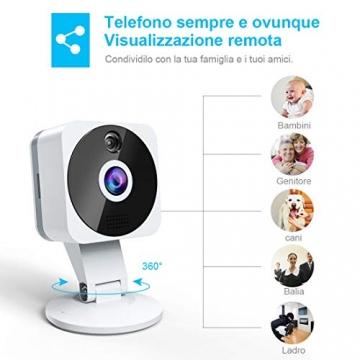Telecamera Wi-fi Interno 1080P, NIYPS Full HD senza fili Videocamera Sorveglianza con Visione Notturna, Audio Bidirezionale e Sensore di Movimento Telecamera IP Cloud per Baby Monitor... - 8