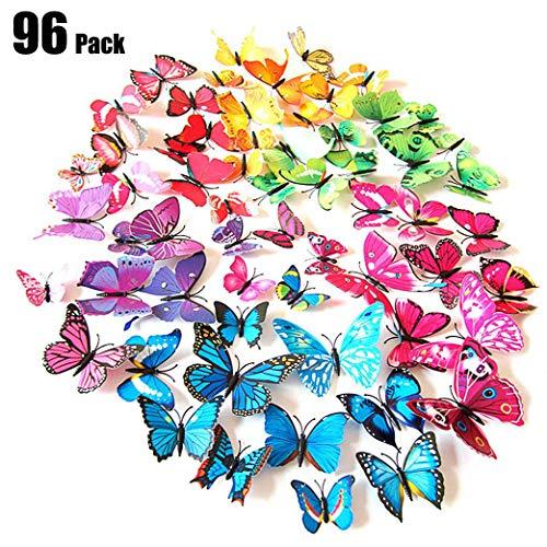 Tomkity 96 Pezzi 8 Colori Brillanti Farfalle 3D Adesivi per pareti Vari Colori Decorazione casa Stickers murali (12 Pezzi Verde, Blu, Viola, Rosso, Bianco, Rosso Rosa, Giallo, colorato) - 1