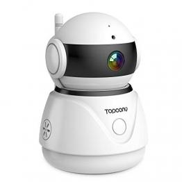Topcony Telecamera di Sorveglianza 1080P interno telecamera ip,Connessione WiFi stabile ip camera, Chip aggiornato, 10m HD Visione Notturna, Two-ways Audio anti-rumore, Smart Motion Detection - 1