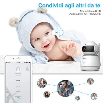 Topcony Telecamera di Sorveglianza 1080P interno telecamera ip,Connessione WiFi stabile ip camera, Chip aggiornato, 10m HD Visione Notturna, Two-ways Audio anti-rumore, Smart Motion Detection - 4