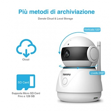 Topcony Telecamera di Sorveglianza 1080P interno telecamera ip,Connessione WiFi stabile ip camera, Chip aggiornato, 10m HD Visione Notturna, Two-ways Audio anti-rumore, Smart Motion Detection - 6